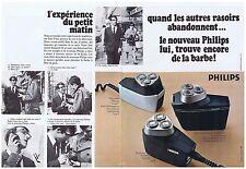 PUBLICITE ADVERTISING 104 1969 PHILIPS rasoir électrique (2 pages)