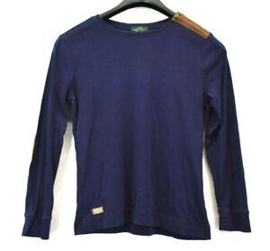 Lauren-Ralph-Lauren-Women-039-s-Large-Long-Sleeve-Elbow-Pad-Shoulder-Zip-Shirt-Top
