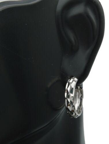 14K Solide Or Blanc 15 mm à facettes CALIN Boucles d/'oreilles Créoles
