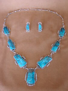 Large-Navajo-Indian-Jewelry-Turquoise-Necklace-and-Earrings-by-Rosella-Paxton
