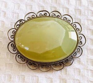 Antique Vintage Silver Tone Filigree Lemon Jade Gemstone Cabochon Brooch