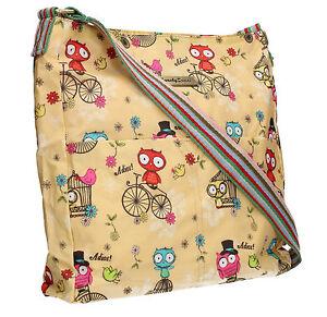 Bicycle Print Messenger Shoulder HandBag Crossbody Women Brown Bag