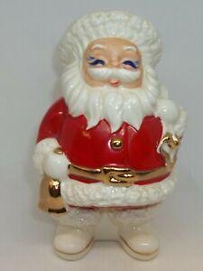 Vtg-Japan-Christmas-Santa-Claus-Ceramic-1950-039-s-Bank-Gold-Accents-Fantastic