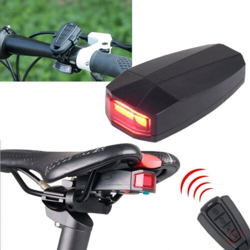 Bicycle Bike 4 In 1 Security Lock Alarm LED Tail Light Anti-theft Remote Control