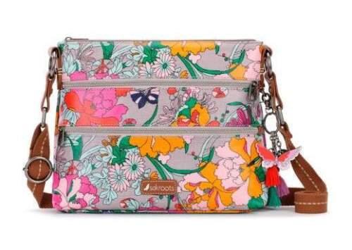 NWT Sakroots Basic Crossbody Shoulder Bag Lilac Flower Power New SHIP INTL