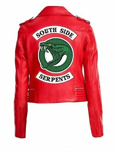 Details About Riverdale Southside Serpents Cheryl Blossom Red Leather Jacket Womens