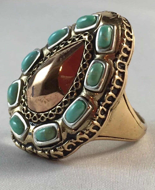 STUDIO BARSE PEAR Styled TRITONE TURQUOISE Gemstone  Ring Size 6