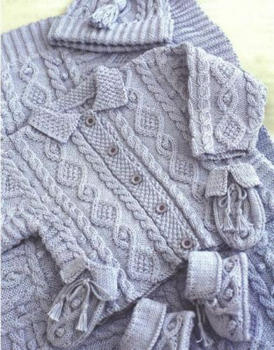 BOOTIES MITTENS HAT KL1 KNITTING PATTERN -BABY CABLE LAYETTE BLANKET JACKET