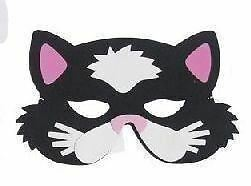 BLACK CAT MASK (PINK EARS), CHILDRENS EVA FOAM ANIMAL MASKS, FANCY DRESS #CA