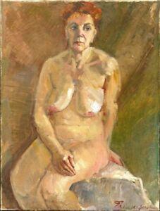 Russischer-Realist-Expressionist-Ol-Leinwand-034-Akt-034-80-x-60-cm