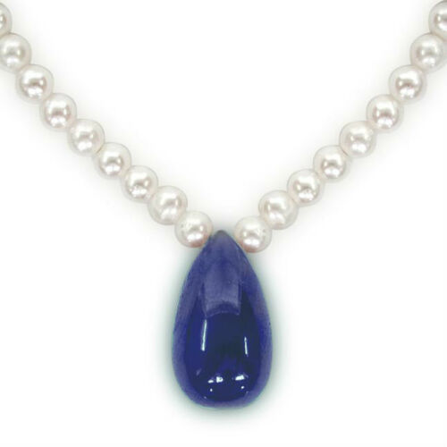Sapphire Splendor Siren Drop Shaped Blue Sapphire /& Real Pearl Necklace SN200
