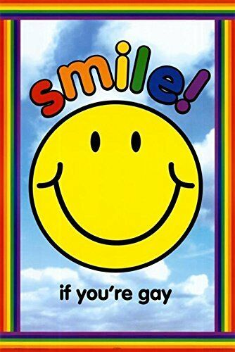 Smile if You are Gay 36x24 Art Print Poster Pride Rainbow Smiley Face