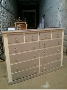 Details About Shaftesbury Range 12 Drawer Extra Large Chest White Grey With Chrystal Handles
