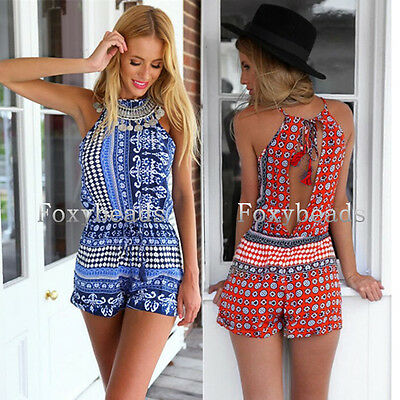 Quality Fashion Womens Summer Floral Priting Jumpsuit Playsuit Shorts Romper