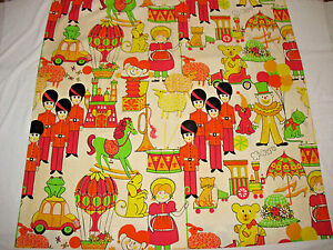 "60'S VTG CHILDREN'S COTTON DRAPERY PANEL ""Toyland"" Toy Soldier Pink Green Yellow"