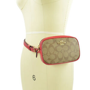 6a80a5de41 Details about NWT COACH Belt Bag Khaki/Red Signature Fanny Pack Crossbody  Bag $275