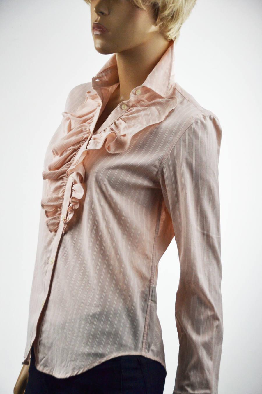 Lauren Ralph Lauren Rosa & Cream Stripe Ruffle Blouse Größe XSmall NWT