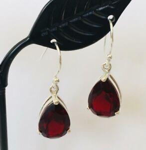 925-Sterling-Silver-Garnet-Teardrop-Earrings-Gemstones-Tear-Drop-Faceted-Pear