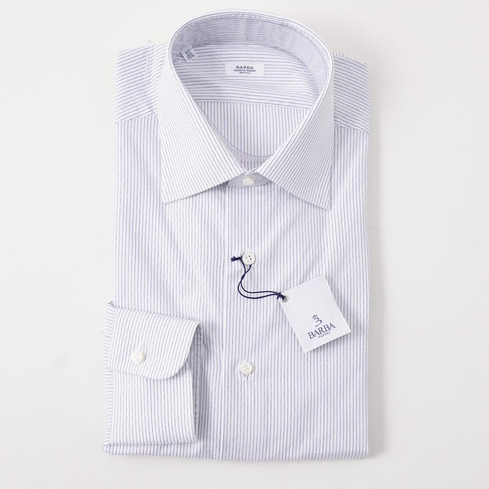 NWT  BARBA NAPOLI Navy bluee Dashed Stripe Cotton Dress Shirt 18 x 37