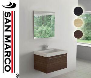 Mobile bagno sospeso da 80 cm con 2 cassettoni soft specchio e lampada ebay - Mobile bagno sospeso 80 cm ...