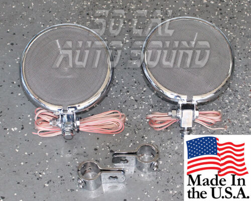 with Clamps NEW Bigger Better 5.25in Chrome Motorcycle Speakers