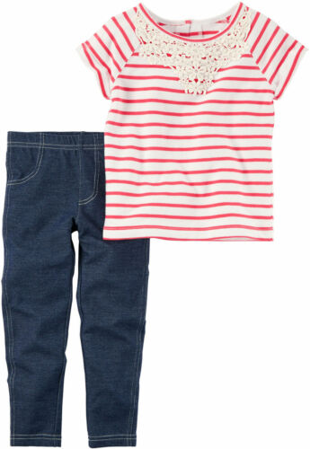NWT Carter/'s Baby Girls/'  2-Piece Top /& Leggings//Jeggings Set Outfit Playwear
