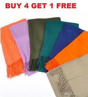 Women PASHMINA SILK Classic Solid Cashmere Wool SHAWL Scarf Stole WRAP Soft NEW
