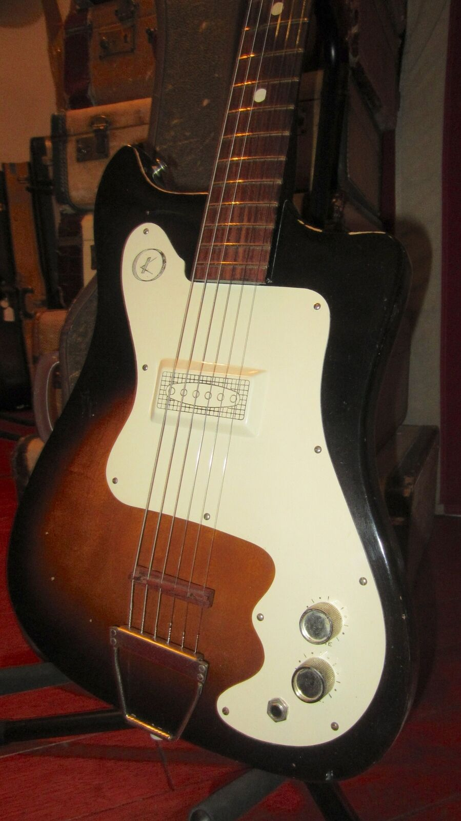 Vintage Circa 1965 Kay Vanguard Electric Solidbody Guitar Sunburst With OSSC