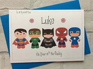 Image Is Loading Handmade Personalised Marvel Pop Superheroes Birthday Card Son