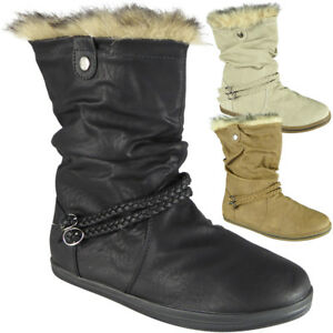 Womens-Pixie-Mid-Calf-Rouched-Flat-Pull-On-Faux-Fur-New-Ladies-Slouch-Boots-Size