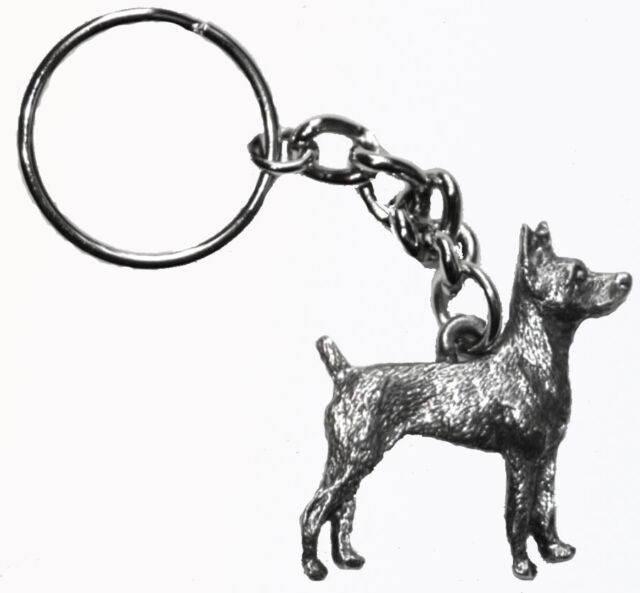 Boston Terrier Dog Keychain Keyring Harris Pewter Made USA Key Chain Ring