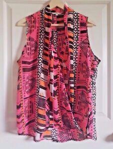 NEXT-Sheer-Sleeveless-Top-Size-Uk14-Neon-Pink-Orange-Black-Trend-90s-Cross-Over