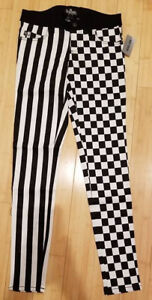 9e0720d11b0 Hot Topic Tripp Royal Bones black White Striped Checkered Skinny ...