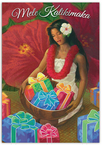 Hawaiian Christmas 10 Pack Cards Hula Girl Gifts Baskets Hawaii Mele Kalikimaka