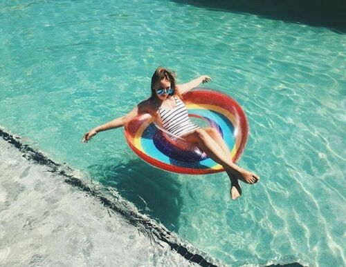Giant Inflatable Donut Rainbow Rubber Ring Pool Float Lilo Toys. Kids or Adults