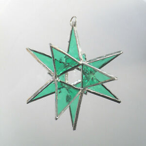 3D-Star-Leadlight-stained-glass-Green-decoration-handmade-in-Australia