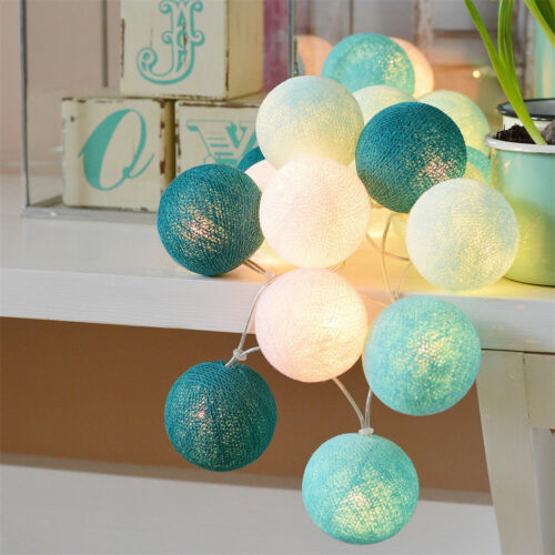 3M Cotton Ball Globe String Light Fairy Lamp Party Wedding Xmas Battery /& Plug
