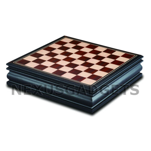Bala Chess Board Game Set Wood Wooden Inlaid Storage METAL Pieces 12 Inch NEW