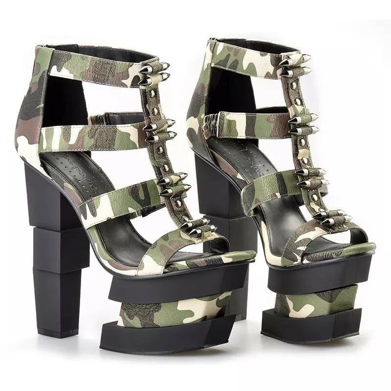 Military Camouflage High Heels Platform Plateau Gr. 6 (39)