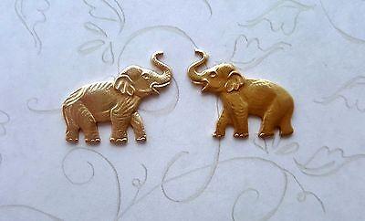 2 Raw Brass Elephant Stampings GB7138LRNR Jewelry Finding