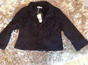 Glamorous-Suedette-Fringed-Ladies-Jacket-Black-Extra-Large-Biker-tasseled
