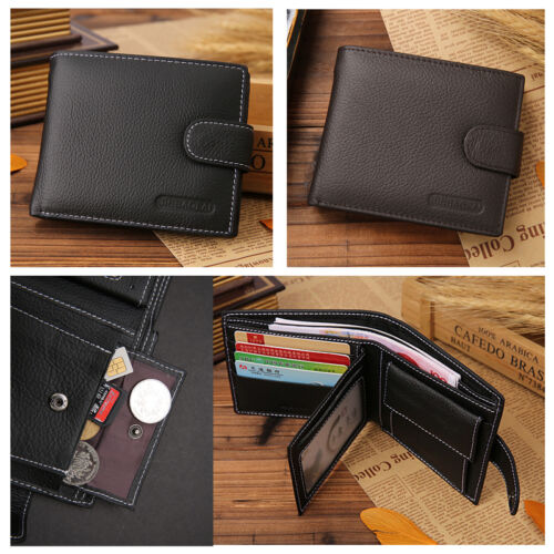 Men Genuine Real Leather Bifold Wallet ID Credit Card Photo Holder Coin Purse