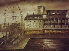 Pintura Paisaje Londres Ojo Londres en Sepia Oleo sobre Lienzo