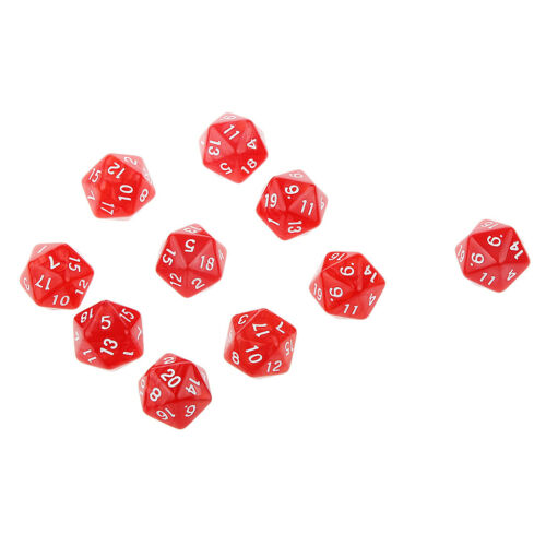 10pcs Twenty Sided Dice D20 Playing D/&D RPG Party Games Dices Red