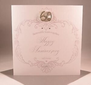 luxury handmade diamond 60th wedding anniversary card wife