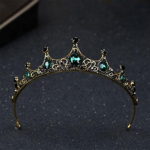 Baroque Wedding Bridal Tiara Handmade Vintage Queen Green Crystal Crown Headband