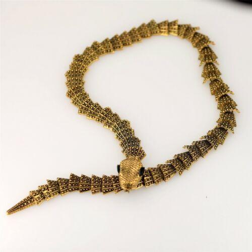 Collier Court Doré Gros Chaine Motif Serpent Yeux Noir Magnetique Retro QT14