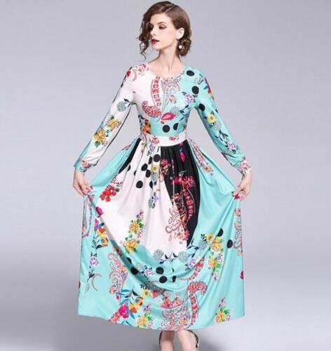 Fashion Women Flower Printed Long Sleeve Dresses Pullover High Waist Long Sweet
