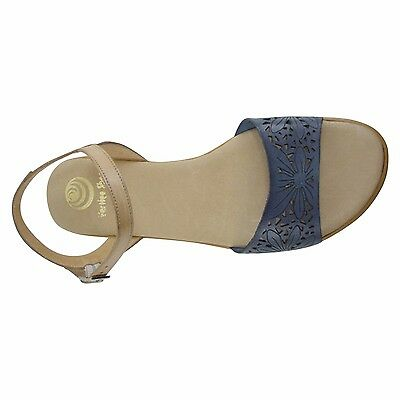 Size 11 Navy & Tan Floral Laser Cut Flat Sandals Made in Spain Big Large Shoes | eBay