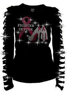Breast Cancer RHINESTONE Shirt Ripped Cut Out S~3X Bling Bling Fighter in Pink